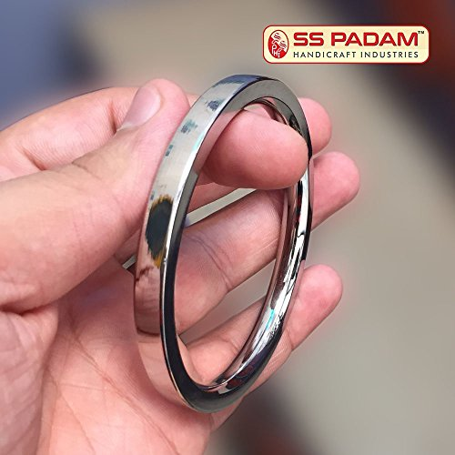 SS Padam Handicraft Industries Stainless Steel Flat Plain Kada For Men (6.2 CM)