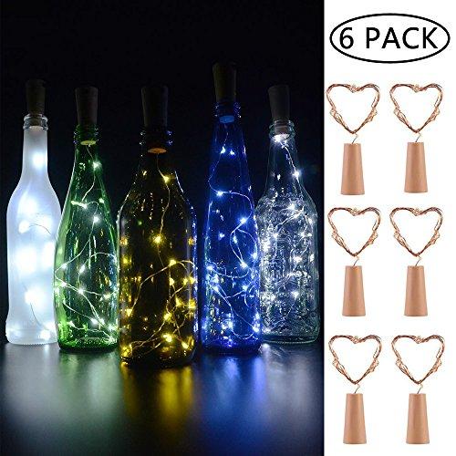 BizoeRade Flaschenlicht,6 Stück 30inch 15 LED Weiß Kupferdraht Lichter String Starry LED Lichter für Flasche DIY, Party, Dekor, Weihnachten, Halloween, Hochzeit oder Stimmung Lichter