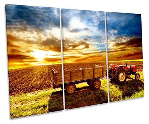 Geek-ernte (Traktor Bauern Field Ernte Treble Leinwand Wand Art Box Rahmen Bild Druck, 120cm wide x 80cm high)
