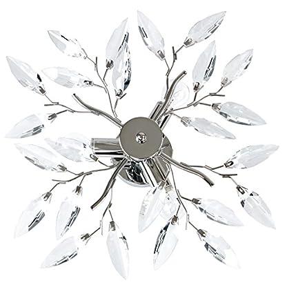 Lampadario a soffitto plafoniera acrilico acciaio cromato con foglie decorative classe A++ fino E