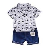 LEXUPE Kleinkind Kinder Baby Boy Kurzarm Crown Muster Shirt Tops + Denim Hosen Set(Grau,100/L)