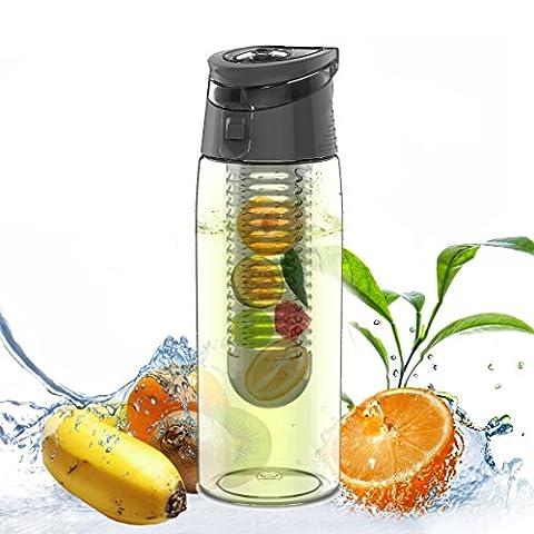 Infuseur à fruits/légumes anti-fuites 700 ml Bouteille d'eau avec poignée de transport - Sans BPA