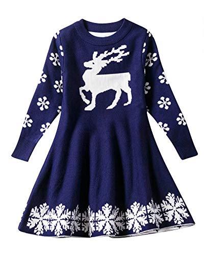 (Little Girls Cute Casual Kitz Und Schneeflocke Gedruckt Langarm Weihnachten Kleid Blau 130)