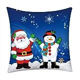Fenverk Quadrat Weihnachten Kissenbezug Zuhause Auto Dekor Sofa Polster Abdeckung Muster Frohe KissenbezüGe Schneit Weihnachtsmann Claus Leinen Fall Zum Festival (C)