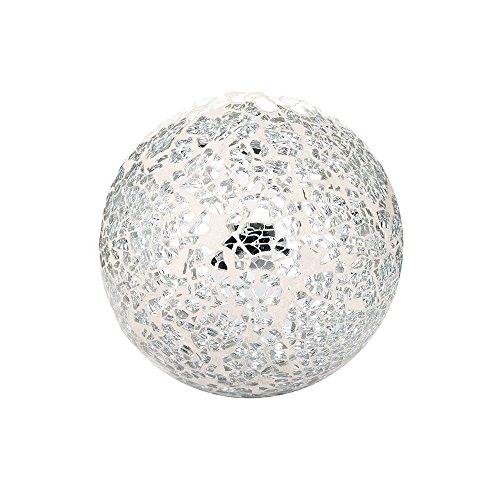 DECORATIVES PARKLING CRACKLE GLASS MOSAIC GLOBE BALL ORNAMENT (9CM 10CM 11CM) (SILVER/WHITE, 11CM)