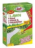 DOFF Herbicida, para Malas Hierbas y Musgo, para césped, 3 en 1, 1,75 kg