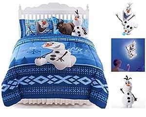 Disney La Reine des neiges Olaf Deluxe Taille complète Parure de lit réversible W/Cuddle Taie d'oreiller et télécommande Talking murale lumière de nuit