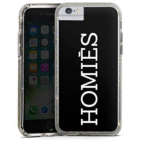 Apple iPhone 7 Bumper Hülle Bumper Case Glitzer Hülle Homies Statement Saying Bumper Case Glitzer gold
