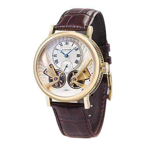 Thomas Earnshaw Beaufort Anatolia ES-8059-02 Montre automatique mécanique pour homme Avec cadran argenté à affichage analogique classique et bracelet en cuir marron