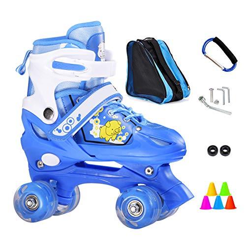 ZCRFY Inline-Skates Rollschuhe Verstellbare Zweireihige 4-Rad-Kinder Inline-Skates Roller Für Anfänger 2-15 Jahre Alte Kinder Eisschuhe Geburtstagsgeschenke,Blue1-L(37-42) Code-Set2