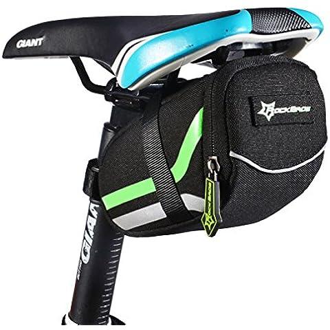 Rockyoo ROCKBROS Mountain Bike della bicicletta sella borsa sedile coda Borsa con striscia riflettente (Stripes Pouch)