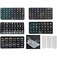 Lifestyle-You® Nail Stamping Kit with 5 Rectangular Image plates, Silicone Stamper & Scraper and free Nail Tip guide sheet.