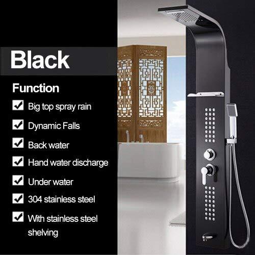 Hand-jet-massage-system (Shower Panel 5 Color Stainless Steel Rainfall Shower Set Massage System Faucet with Jets with Hand Shower Tower Shower Column,Black)
