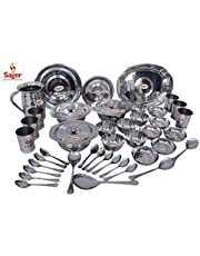 SAGER Silver Collection 51 Piece Stainless Steel Dinner Set (Weight- 9 kg)