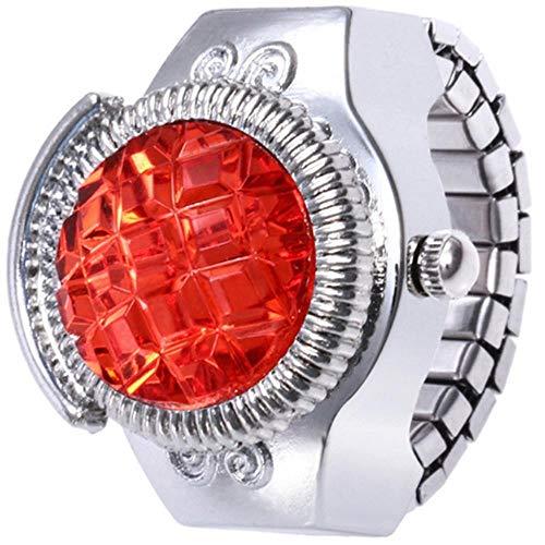 WGY Mode Frauen Schmuck Runde Fingerring Uhr Stein Stahl Elastische Dame Mädchen Geschenk Kreative Finger