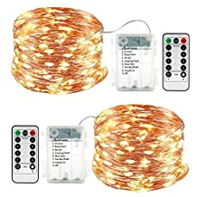 2 Pack Fairy Lights Halloween, Battery Operated Waterproof 8 Modes with Remote Control 33ft 100 Led Copper String Lights for Outdoor & Indoor, Christmas Decoration (Warm White)