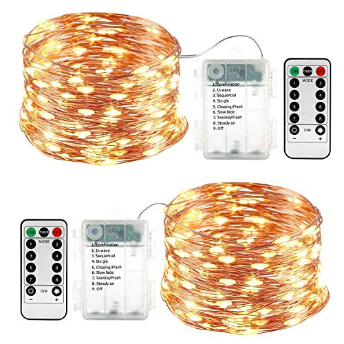 Qedertek 2 pezzi luci led a batteria 10m 100 led, luci natale esterno impermeabile, lucine led decorative, luci natalizie con telecomando, funzione di timer, dimmerabile (bianco caldo)