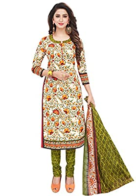 Ishin Cotton White & Green Printed Unstitched Salwar Suit Dress Material (Anarkali/Patiyala) With Cotton Dupatta