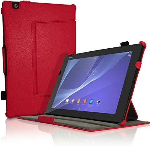 igadgitz Premium Rot PU Ledertasche Hülle Cover für Sony Xperia Z4 Tablet SGP712 SGP771 mit Multi-Winkel Betrachtungs + Auto Sleep Wake + Handschlaufe + Displayschutzfolie