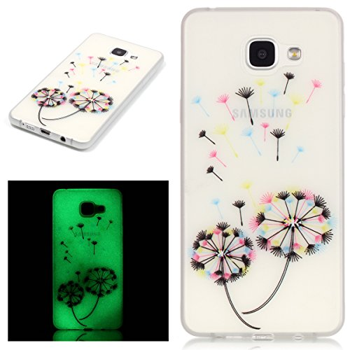 Custodia Galaxy A5 2016 - Cover per Samsung Galaxy A5 2016 - ISAKEN Fashion Agganciabile Luminosa Custodia con LED Lampeggiante PU Pelle Portafoglio Tinta Unita Cover Caso per Samsung A5 2016, Luxury  dandelion colorate