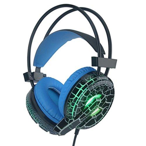 Professionelle Gaming Headset LED Licht Kopfhörer Kopfhörer mit Mikrofon H6 Gaming Kopfhörer Headset mit Mic Bester Enhanced Bass Stereo Kopfhörer 2 Meter lang Audiokabel (Schwarz) (Ohrhörer Remote Mic)