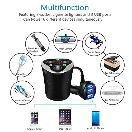 Caricabatterie-per-Auto-3-USB-Adattatore-3-sockets-Accendisigari-Divisore-Portabicchieri-Spina-120W-1224V-con-LED-Tensione-Display-Separati-onoff-interruttore-for-iPhone-Telefono-Dash-Cam