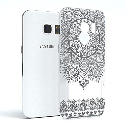 HULI Design Case Hülle für Samsung Galaxy S7 Edge Smartphone im Orientalischen Muster Graphit - Schutzhülle aus Silikon mit orientalischem Mandala Henna Ornament Traumfänger - Handyhülle mit Druck