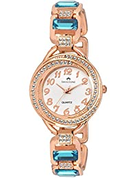 Swisstone GEM92W-LGT-BLU White Dial Blue Stone Bracelet Wrist Watch For Women/Girls