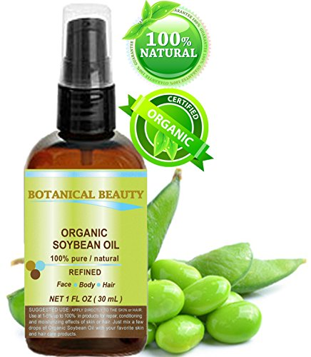 Botanical Beauty ORGANIC SOYBEAN OIL, 100% Pure, Cold Pressed Oil. 1 oz-30 ml. For Face, Hair And Body.