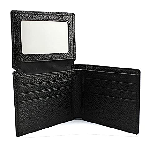 Mens Leather Wallet - Men's Purse with RFID Blocking, Genuine Real Leather , Credit Card Slots, ID Window, Slim Bifold Soft Material Black from Elecrow