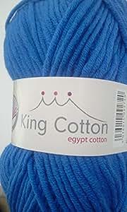 Grundl 3360-08 King Cotton Pelote de fil à tricoter Bleu roi 50 g