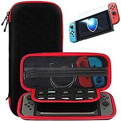 Nintendo Switch Funda + Protector de Pantalla de Vidrio Templado, SHareconn Portátiles Portátil Duro de Viaje Bolsa de Almacenamiento con 10 Cartuchos de Juego (Negro & Rojo)