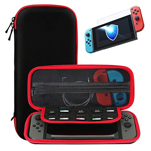 Nintendo Switch Carry Case + Premium Tempered Glass Screen Protector, SHareconn Portable Protective Hard Shell Cover Travel Storage Bag with 10 Game Cartridge for Nintendo Switch Console & Accessories (Red)