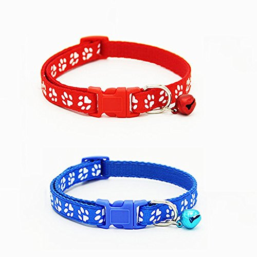 Gemini_mall® 2 Pack Adjustable Cat Collar with Bell, Fashion Paw Print Design Pet Collar, Safety Quick Release Breakaway Collar for Cats (Red & Blue)