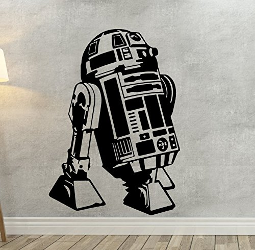 Pared Adhesivo Star Wars R2-D2, vinilo, negro, pequeño
