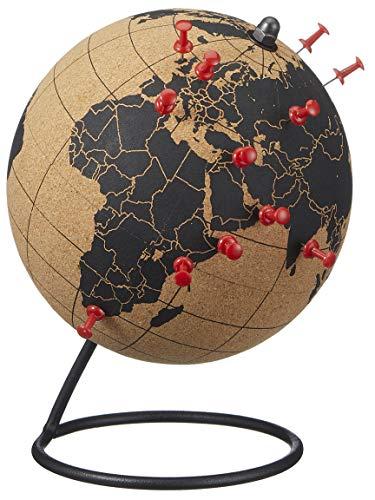 Bada Bing Hochwertiger Kork Globus Ca. Ø 15 cm Weltkarte Mit Schwarzem Print Mit Fuß Inkl. 12 Reißzwecken Geschenk Für Weltentdecker Weihnachten 34