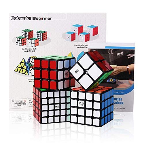 ROXENDA Speed Cube Bundle, Zauberwürfel-Set aus 2x2x2 3x3x3 4x4x4 5x5x5 Speed Puzzle-Würfel mit Geschenkbox, geheimes Tutorial für Speed-Cubes (T1)
