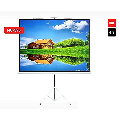 Maclean MC-e 595 Projecteur trépied Toile 100 Toile Home Cinéma Vidéo Support 200 x 150 4 : 3