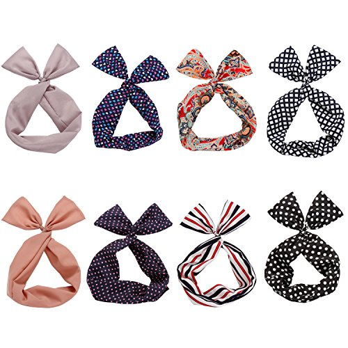 Twist Bow Wired Headbands Scarf Wrap Hair Accessory Hairband by Sea Team(8 Packs) by Sea Team