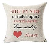fringcoook Best Geschenk zu Schwester Mom Tante Side by Side Rot Herz Überwurf Kissenbezug Kissen Fall Baumwolle Leinen Material dekorative 45,7x 45,7cm