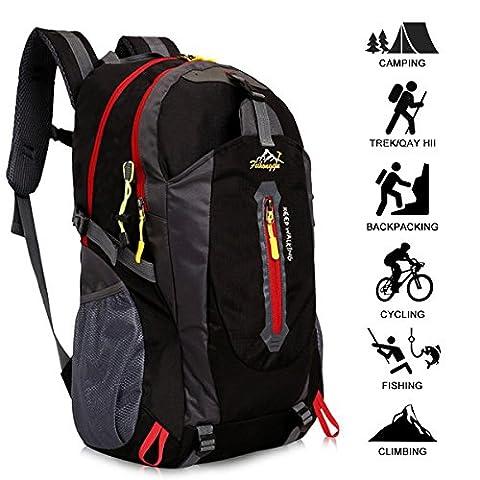 Yunplus 40L Leichtes Wandern Rucksack, Multifunktions Wasser-resistent Casual Camping Trekking Rucksack für Radfahren Reisen Klettern Outdoor Sport - Schwarz