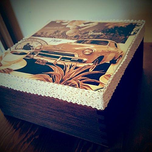 Tee Box, handgefertigt und Hand verziert mit Decoupagetechnik, Teabox. Weihnachten Geschenk Idee, 16,5cm x 16,5cm x 8cm, Marke NEW, Jewelry Organizer Cookies Chest, Retro, Vintage ()