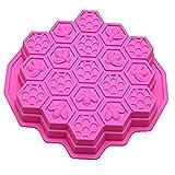 Vzer, teglia con stampi in silicone, con 19 cavità flessibili, stampi per bambini per torte e cioccolato, motivo a nido d'ape Pink