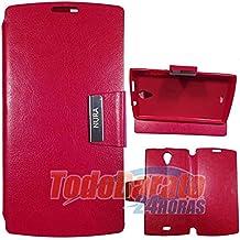 Funda Roja Libro con Soporte para Orange Nura / Alcatel One Touch M812
