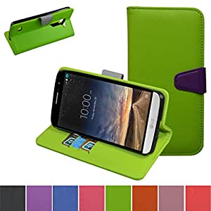 LG RAY Case,Mama Mouth [Stand View] Flip Premium PU Leather [Wallet Case] With Credit Card / Cash Slots Cover For LG RAY X190 Smartphone,Green