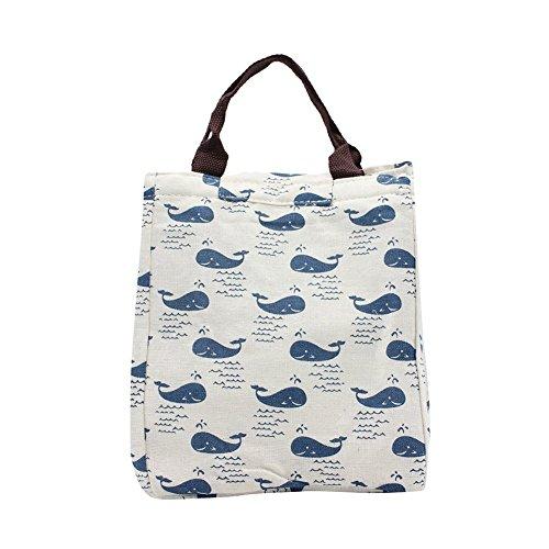 Casadeiy Leinwand Cool Bag Lunch Box Einkaufstasche Picknick BBQ Food Carrier Reise Schule Büro Mittagessen Tragetaschen (Wal) -