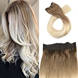 Moresoo 22 Zoll Halo Remy Menschliches Haar Extensions Dip Dyed Hair Extensions #6 Fading to #60 Flip on Hair Extensions 100 Grams Per Pack One Piece Hair Extensions