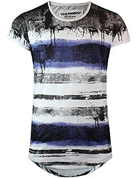 trueprodigy Casual Hombre marca Camiseta rayado ropa retro vintage rock vestir moda cuello redondo manga corta...