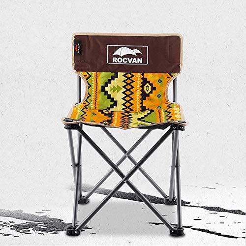 Klappbar Campingstühle Ultraleicht, Angelstuhl Klappstuhl Camping Hocker mit Rückenlehne, Tragetasche für Angeln/Wandern/Picknick/bis zu 150kg Yellow