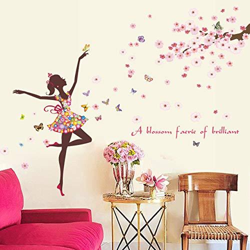 Adesivo murale fiori romantici fiori rami degli alberi stickers murali decorazioni per la casa soggiorno camera da letto tv sfondo adesivi per poster